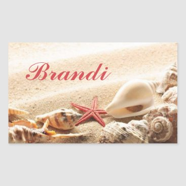 Beach Themed Sea Shell & Starfish Stickers with Name