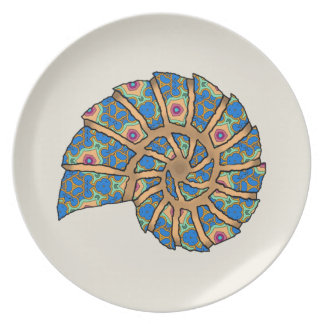 Sea Shell Stencil Dinner Plate