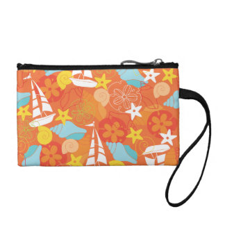 Sea Shells and Boats on Orange Pattern Change Purse