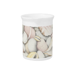 Sea Shells and Pebbles in Coloured Pencil Beverage Pitcher