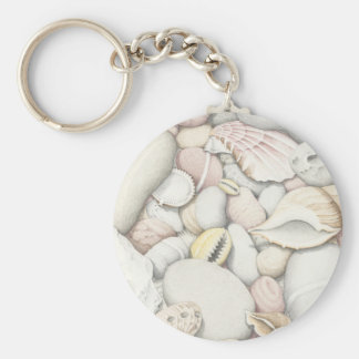 Sea Shells and Pebbles in Coloured Pencil Keychain