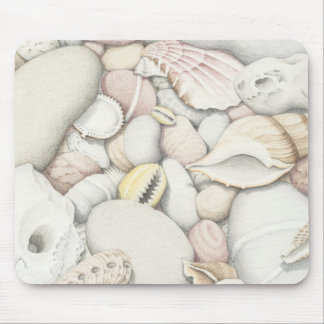 Sea Shells and Pebbles in Coloured Pencil Mouse Pad