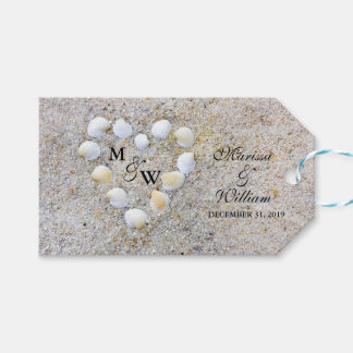 Sea Shells and Sand Heart Wedding Favor Tags