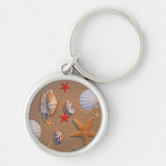 Sea Shells And Starfish Arranged On Sand Silver-Colored Round Keychain