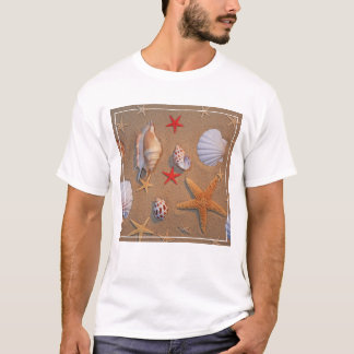 Sea Shells And Starfish Arranged On Sand T-Shirt