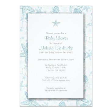 lemontreecards Sea Shells and Starfish Boy Baby Shower Invites
