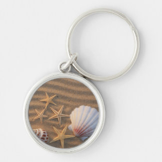 Sea Shells And Starfish Silver-Colored Round Keychain