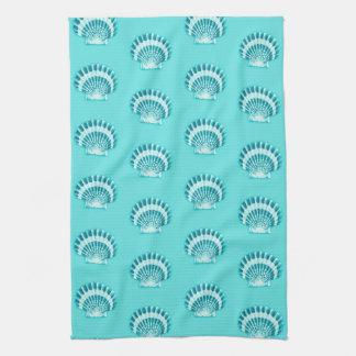 Sea shells - aqua and teal towel