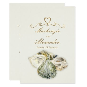 Beach Themed Sea shells art beach wedding invitations