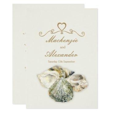 Beach Themed Sea shells art beach wedding invitations