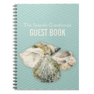 Professional Business Sea shells art & chervon aqua guest book notebook