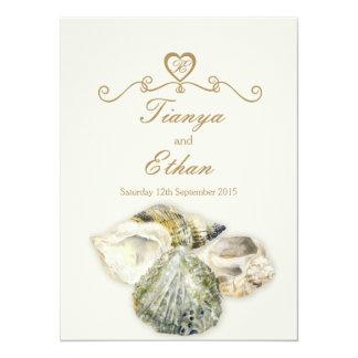 "Sea shells art wedding invitation ivory cream 5.5"" x 7.5"" invitation card"
