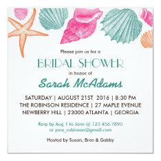 Sea Shells Beach Theme Bridal Shower Invitation at Zazzle