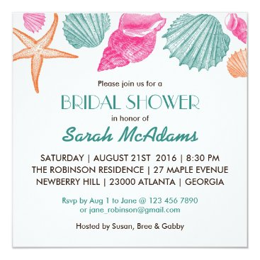 Beach Themed Sea Shells Beach Theme Bridal Shower Invitation