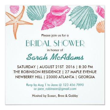 raindwops Sea Shells Beach Theme Bridal Shower Invitation
