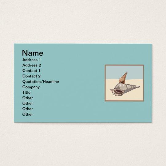 sea shells browns greys blues graphics ocean beach business card