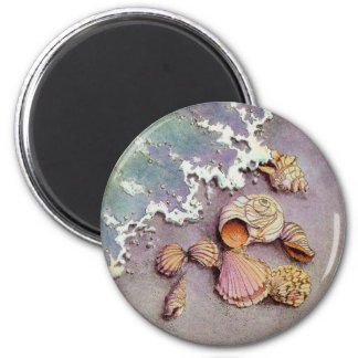 SEA SHELLS by SHARON SHARPE 2 Inch Round Magnet