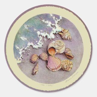SEA SHELLS by SHARON SHARPE Round Sticker