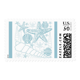 Sea Shells Collage Postage Stamp Blue