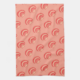 Sea shells - coral and peach kitchen towel