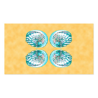 Sea Shells Design, Turquoise and Yellow. Business Cards