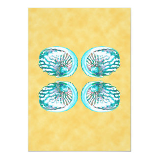 Sea Shells Design, Turquoise and Yellow. Card