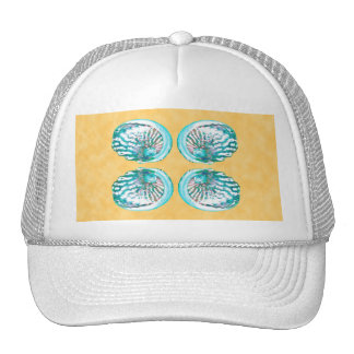 Sea Shells Design, Turquoise and Yellow. Trucker Hats