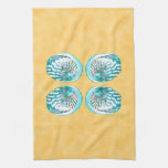 Sea Shells Design, Turquoise and Yellow. Hand Towels