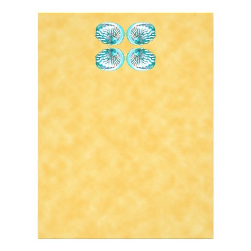 Sea Shells Design, Turquoise and Yellow. Letterhead