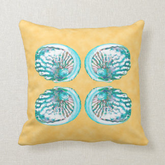 Sea Shells Design Turquoise and Yellow Throw Pillows