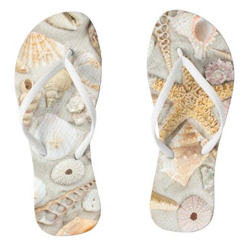 Sea Shells Flip Flops