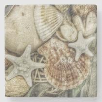 Sea Shells Nautical Beach Marble Coaster