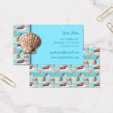 Beach Themed Sea Shells Ocean Blue Stripe Business Card