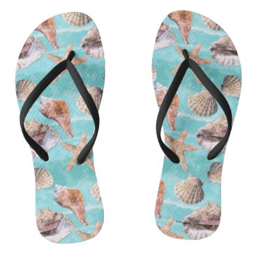 Beach Themed Sea Shells Ocean Blue Stripe Flip Flops