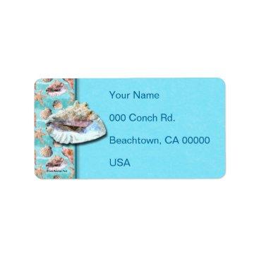 linda_mn Sea Shells Ocean Blue Stripe Label