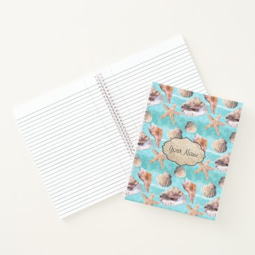 Beach Themed Sea Shells Ocean Blue Stripe Notebook