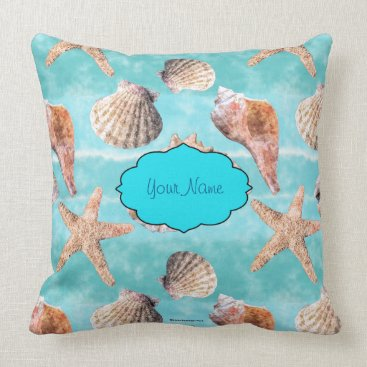 Beach Themed Sea Shells Ocean Blue Stripe Throw Pillow