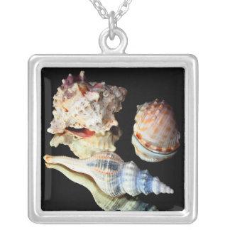 Sea Shells on a Mirror Square Pendant Necklace