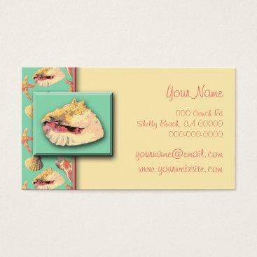 Sea Shells on Aqua Business Card