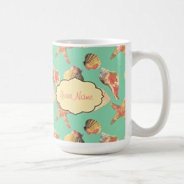 Beach Themed Sea Shells on Aqua Coffee Mug