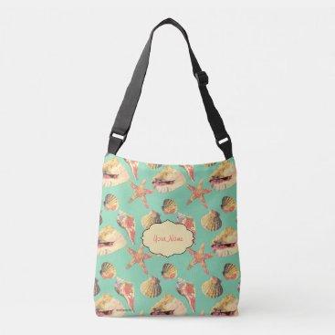 Beach Themed Sea Shells on Aqua Crossbody Bag