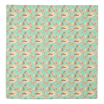 Beach Themed Sea Shells on Aqua Duvet Cover