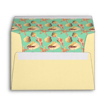 linda_mn Sea Shells on Aqua Envelope