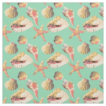 Beach Themed Sea Shells on Aqua Fabric