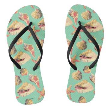 Beach Themed Sea Shells on Aqua Flip Flops