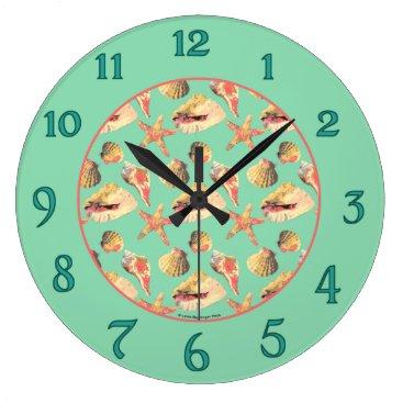 Beach Themed Sea Shells on Aqua Large Clock