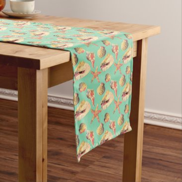 Sea Shells on Aqua Medium Table Runner