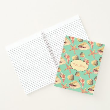 Beach Themed Sea Shells on Aqua Notebook