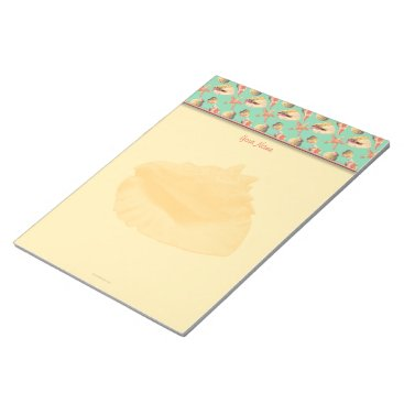 Beach Themed Sea Shells on Aqua Notepad