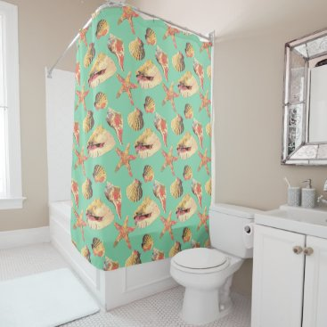 Beach Themed Sea Shells on Aqua Shower Curtain